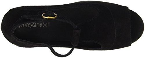 Jeffrey Campbell Foxy, Chaussures à Talons à Bout Ouvert Femme Noir - Nero (Suede Black)