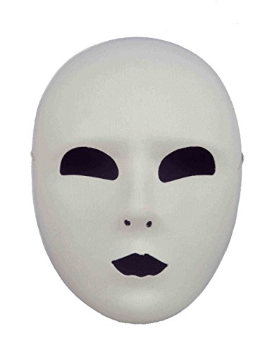 Full Face White Maske Halloween Kostueme Maske Gesicht Maske Over-The-Head-Maske Kostuem Stuetze Scary Creepy Schreckliche Maske Latex Maske Fuer Maskerade Make-up Party (Make-up Für Creative Face Halloween)