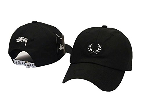 Stussy Unisex Cotton Hats Adjustable Peaked Cap Black 1 One Size