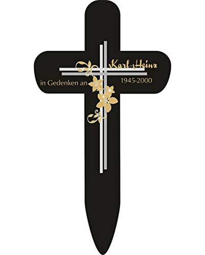 Livingstyle & Wanddesign Personalisiertes Grabkreuz mit Kreuz und Blumen 2 in Schwarz, klein 25 x 13,5 cm