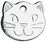 Personalised Solid Chrome, Durable Cat Head Pet ID Tag Disc (ENGRAVED FREE)