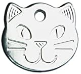 County Engraving Personalised Solid Chrome, Durable Cat Head Pet ID Tag Disc (ENGRAVED FREE)