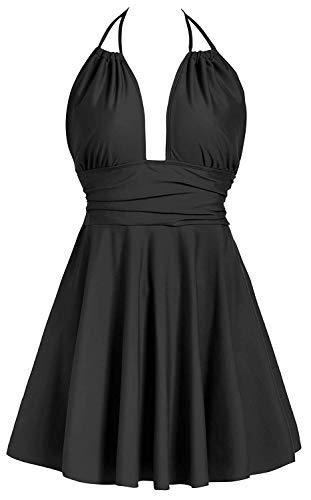 Avacoo Damen Badekleid Einteiler Badeanzug Neckholder Einfarbig Kleid Schwarz M