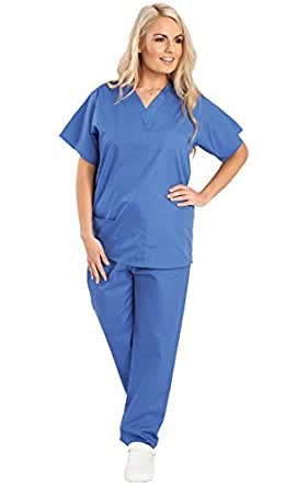 Unisex Budget Medical Scrub Set - Reversible - TOPS AND TROUSERS - 6 Colours Available - Navy, Blue and Raspberry (XS, Ceil)