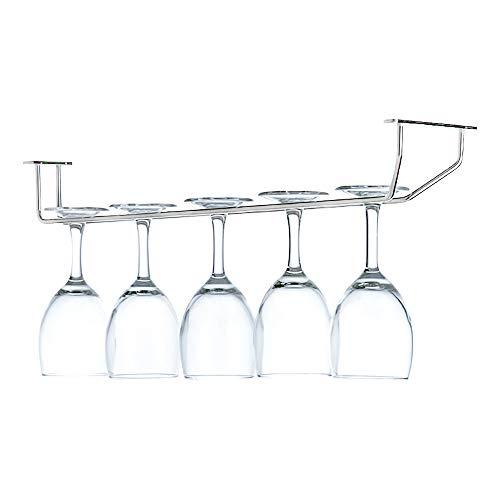 Cosaux FR07 Weinglas Regal Rack Edelstahl Stemware Inhaber Gläser Lagerung unter Schrank Chrom Wandhalterung mit Schrauben für Bar Küche Pub Stemware Rack