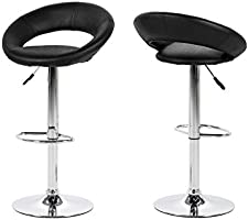 AC design furniture 61120 lot de 2 tabourets de bar effet cuir vintage thilde, noir