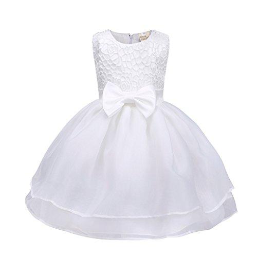 Babykleidung❀❀ JYJMBlume Baby Mädchen Prinzessin Brautjungfer Pageant Kleid Geburtstag Party Brautkleid (Größe: 3 Monate, Weiß) (Perle-mädchen-socken)