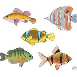 Smarts-Art Aufkleber tropische Fische, für Badezimmer-Kacheln, 5 Stück