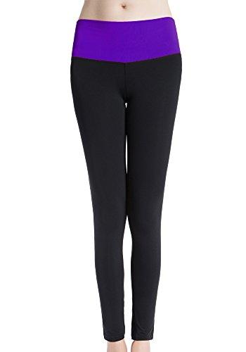 Bmeigo Donna Fitness Yoga Training Ninth Pantaloni Fast Dry Leggings Purple