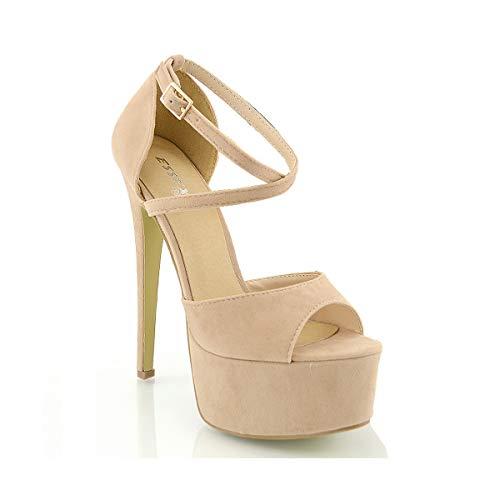 ESSEX GLAM Sandalo Donna Peep Toe con Lacci Plateau Tacco a Spillo Alto (UK 6 / EU 39 / US 8, Carne Finto Scamosciato)