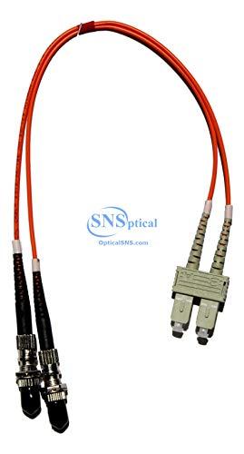 Ofnr Jacke (Optisches SNS Glasfaser-Adapterkabel (SC (männlich) auf ST weiblich, 30 cm, Multimode 50/125 OM2 Duplex Hybrid-Adapter)