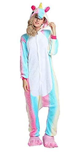 Unicorno kigurumi pigiama adulto halloween anime cosplay costume tuta unisex (l, multicolore)