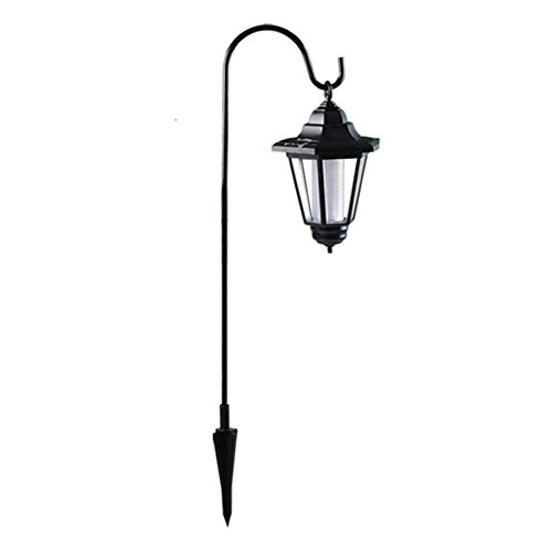 FAVOLOOK Lámpara solar para colgar (impermeable, con gancho para pastor y luz solar para exteriores, luz LED con sensor fotosensible, para jardín, patio, senderismo o emergencias), negro