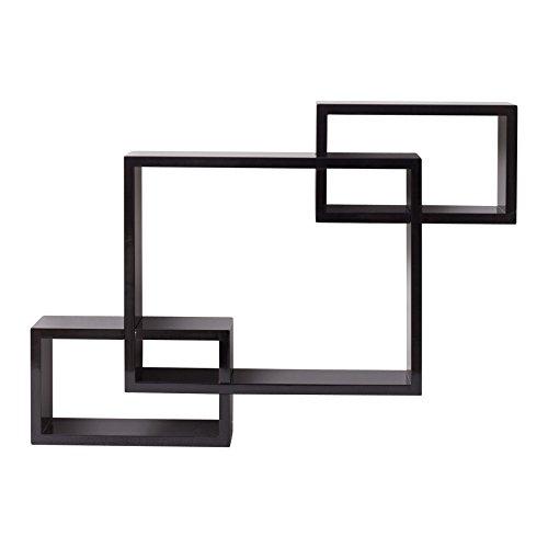 Rebecca SRL Etagere Murale Modulaires 3 Cubes Bois Noir Design Chambre Salon (Cod. 0-1415)