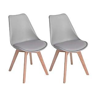 EGGREE 2er Set Esszimmerstühle mit Massivholz Bein, Retro Design Gepolsterter lStuhl Küchenstuhl Holz, Schwarz