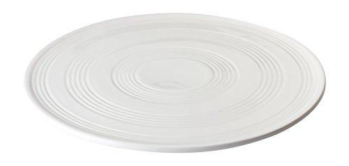 Jd Diffusion T3763 Plat à Tarte Strie en Porcelaine Céramique, Blanc, 30,6x30,4x4,8 cm