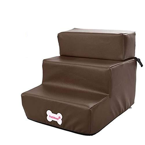 Schwamm Pet Treppen,in 3 Schritten Pet-treppen Herausnehmbarer Abdeckung Pflegeleicht Lightweight Pet Bett-leiter Leichtes Aufsteigen Schlafsofa-kaffee Farbe 35.5x29.5x20cm(14x12x8inch) -