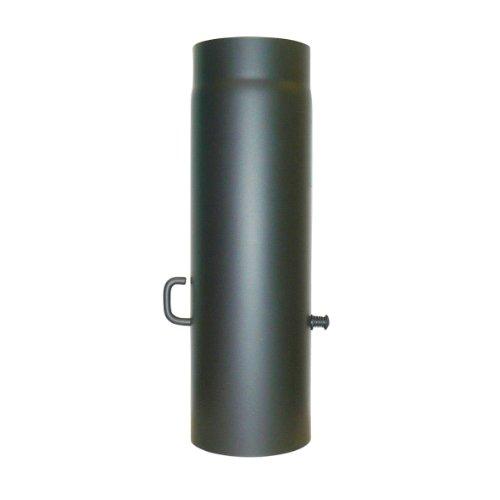 Kamino Flam Ofenrohr mit Drosselkappe in Gussgrau, Rauchrohr aus Stahl für sichere Ableitung von Abgasen, hitzebeständige Senotherm Beschichtung, geprüft nach Norm EN 1856-2, Maße: L 500 x Ø 150 mm