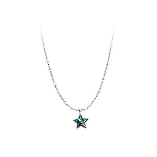 Neckiacexsj Fresh Azur Kristall Mini Süße Fünfzackigen Stern Kleine Sterne Anhänger S925 Sterling Silber Kurze Halskette Schlüsselbein Kette Feinen Abschnitt Weiblich