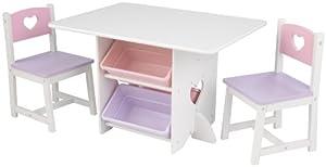 KidKraft-Heart Juego de mesa y 2 sillas de madera con corazón con compartimentos de almacenamiento, cuarto de juegos para niños / muebles de dormitorio, Color Blanco/Pastel (26913)