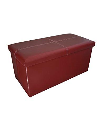Puff/Baúl Plegable Acolchado para Almacenaje, Estilo Originalcon Diseño Elegante en Color Granate - Hogar y más-
