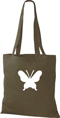 ShirtInStyle Stoffbeutel Schmetterling Butterfly Libelle Käfer Marienkäfer Kult olive