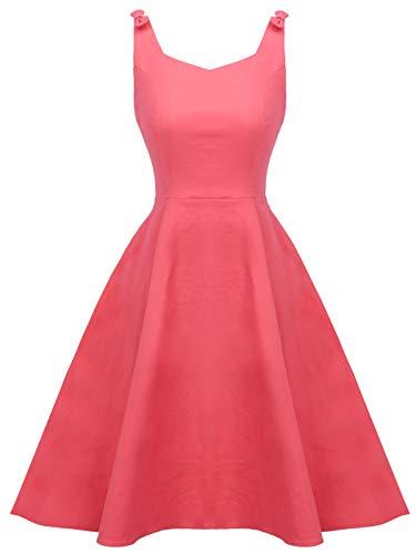 Juniors 50s Vintage V-Neck Rockabilly U-Back Swing Party Dress with Bows on Shoulder(S, Coral) (Kleid Junior Coral)