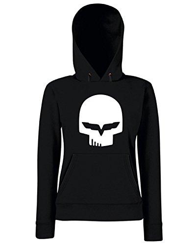T-Shirtshock - Sweats a capuche Femme FUN1041 corvette racing skull t shirt Noir