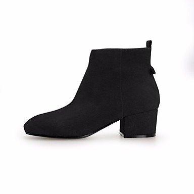Rtry Femmes Chaussures De Peau De Vache Automne Hiver Confort Bottes Chunky Perle Carré Toe Pour Café Casual Jaune Noir Us6 / Eu36 / Uk4 / Cn36