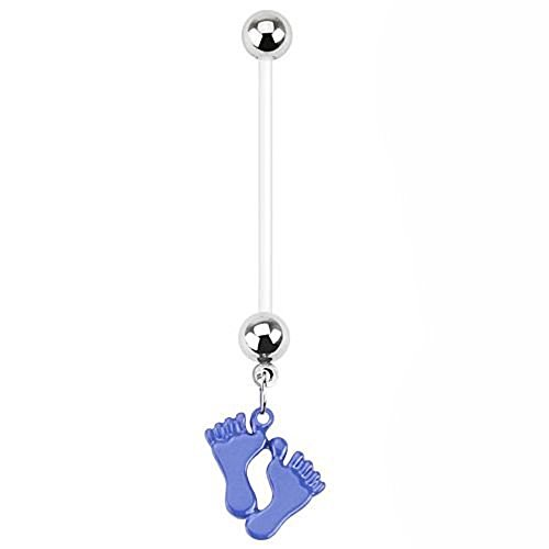 1 x Blue Epoxy Baby Feet Footprint Charm Flexible Pregnancy Belly Bar Piercing  Dicke: 1,6 mm  Length : 25mm  Material : (Kostüm Baby Pille)