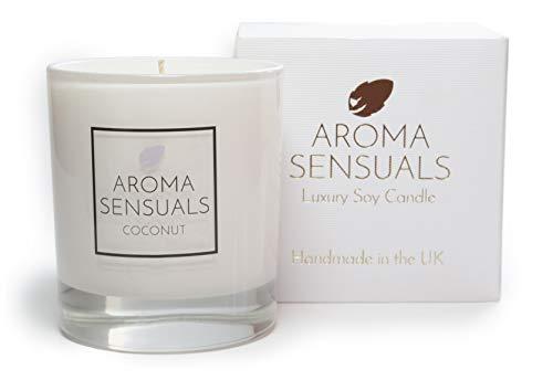 Aroma Senssuals Soja-Kerze, groß, Kokosnussduft, langlebige Luxus-Kerzen, in Box