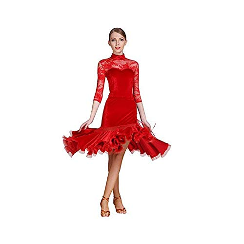 Wuxingqing Damen Jazz Latein Dance Kleid Frauen Fransen Quasten Ballsaal Samba Tango Latin Dance Dress Wettbewerb Kostüme Themen Party Swing Dress (Farbe : Rot, Größe : XL) (Swing Dance Kostüm)