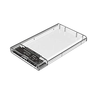 Dandeliondeme High Speed Clear SATA3 to USB3.0 Mobile HDD SSD Case Box External Enclosure 2TB 2.5 Inch SATA Interface Slippery Cover Transparent