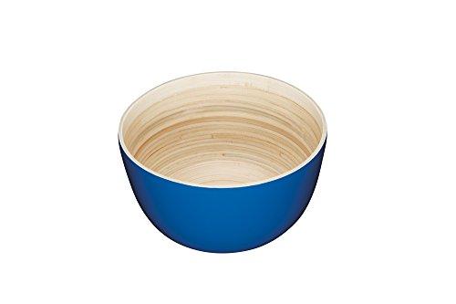 Servierplatte Runde Große, (KitchenCraft WE LOVE Sommer Holz rund Servieren Schüssel, Bambus, Blau, 25x 25x 13,8cm)