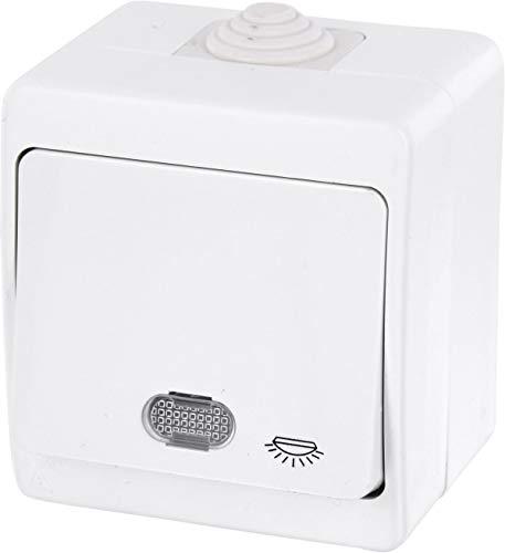 feuchtraum taster aufputz Aufputz Feuchtraum Taster mit Licht-Symbol + LED-Beleuchtung IP54 - All-in-One - Rahmen + Einsatz + Abdeckung (Serie G1 reinweiß)