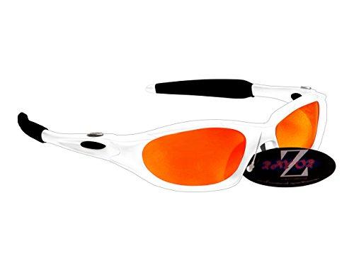 Rayzor professionali leggeri UV400 Bianco Sport Wrap ciclismo da sole, con un obiettivo rispecchiato rosso Iridium.