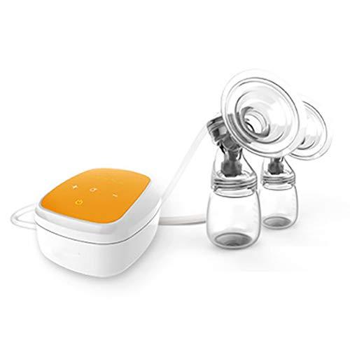 Lucun Elektrische Milchpumpe, Hohe Temperatur ändert Farbe USB-Aufladung tragbare Massage-Smart-Touch-Doppelsaugflasche,Yellow