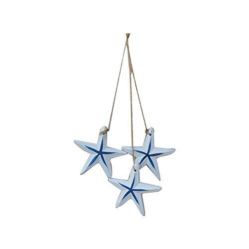 Deanyi 3pcs Adorno de Pared de Madera Serie Estrellas de mar Mediterráneo de la Pared Decorativos Colgando de Hilo de decoración del hogar DIY Crafts