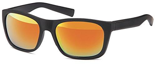 SAMBORA® A80034-4 Unisex Sonnenbrille UV400 Schutz Wayfarer Style - Rahmen: Schwarz Matt Glas: Orange Verspiegelt