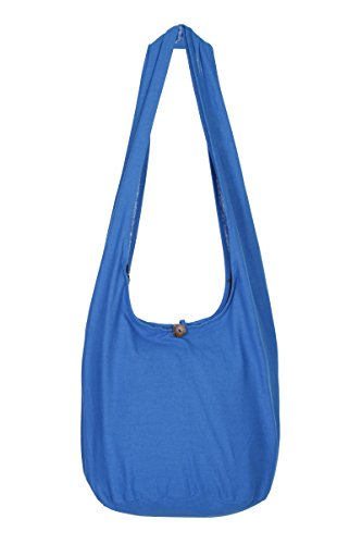 ThaiUK Damen Hippie-Tasche mit Schulterriemen, Boho-Stil, 100 % Baumwolle Blau - Blau