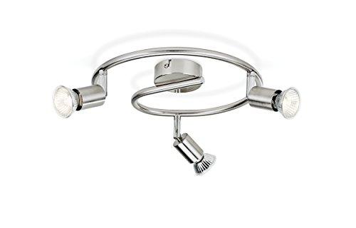Philips Lighting Limbali Lampada Faretti Spirale 3 Luci Orientabilisenza Lampadina, Grigio, 3 x 50 W