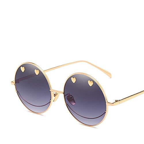CFHJN Home Herren Sonnenbrillen Damen NET Rot mit Liebe Smiley Gesicht Sonnenbrille weiblichen kreisförmigen Rahmen unregelmäßigen Persönlichkeit Meer Sonnenbrille Gezeiten