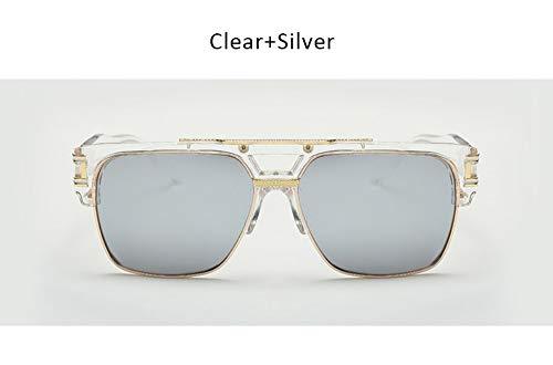 WDDYYBF Sonnenbrillen Vintage Sonnenbrillen Herren Sonnenbrillen Luxus Designer Männlich Flache Oberseite Großen Quadratischen Rahmen Spiegel Sonnenbrille Sonnenbrille Sonnenbrille