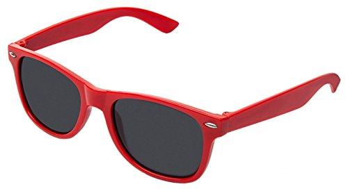 retroUV® - Flat Revo Colore Lens Grande Montatura Spessa Style Sunglasses Occhiali da Sole Include Pouch - UV400, Rosso Tinta,