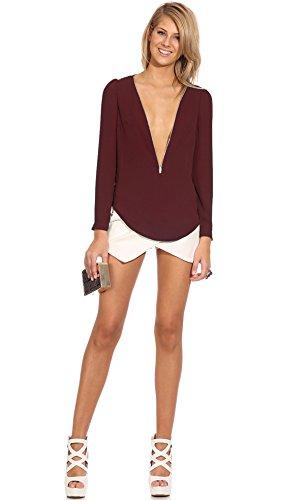 Fanessy Bluse damenTunika damen elegant T-shirt Chiffon Sexy Lose Oversize wild pullover tops blazer Rot