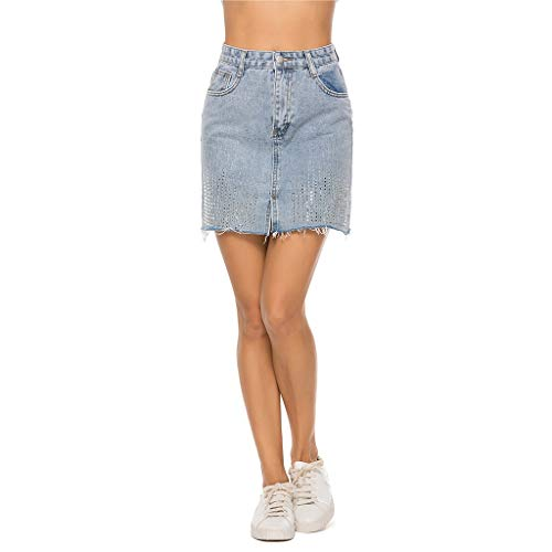 Rock Damen ALISIAM Frauen Elegant Hohe Taille Jeans Rock Vintage Destroyed Rock Denim Rock Kurz Boyfriends Röcke Mini Party Bodycon Bleistiftrock Skirt Maxi