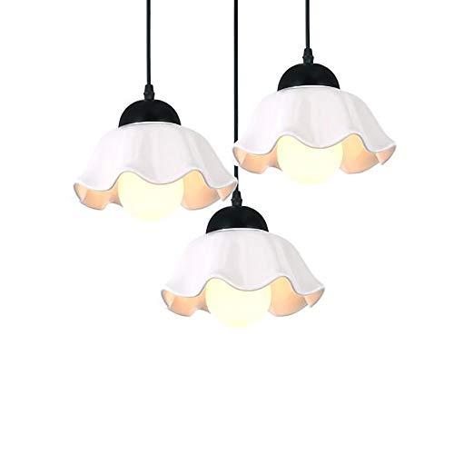 HXYT Keramik Schmiedeeisen Pendelleuchten Blütenblatt-förmigen weißen DREI-Kopf-Design Lampenschirm/geeignet für Wohnzimmer Küche