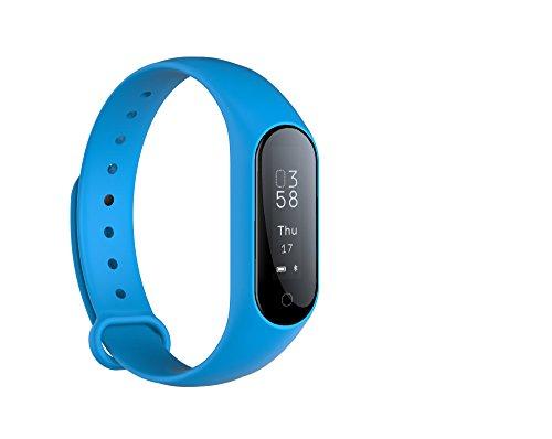 Monitor de actividad física Monitor de frecuencia cardíaca en tiempo real, Smart Pulsera Fitness Pulsera Podómetro con Step Tracker / Calorie Counter / Sleep Tracker Notificación de llamada Push para (Azul)