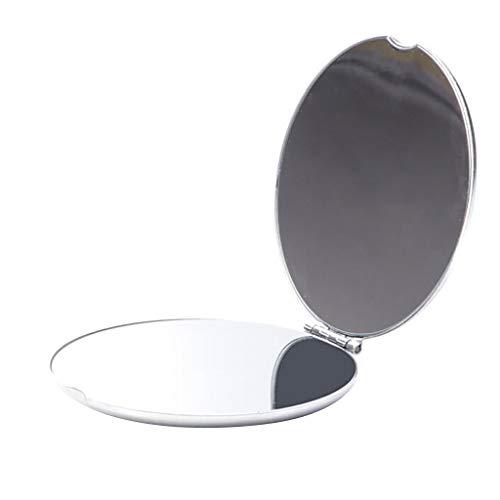 LIHY Schminkspiegel- Mini-Metallkosmetik-Doppelkompakt-Mappenspiegel-Taschenspiegel beidseitig faltender Kosmetikspiegel