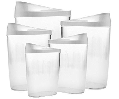 Lot de 5 boîtes de rangement en plastique pour céréales/pâtes/riz/haricots
